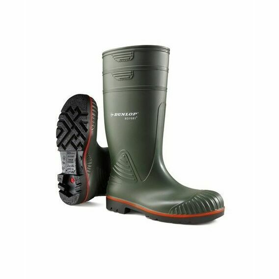 Dunlop Acifort Heavy Duty Full Safety S5 Wellington Boots Green