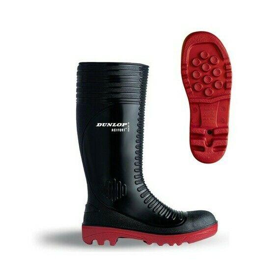 Dunlop Acifort Ribbed Full Safety Wellington Boots Black